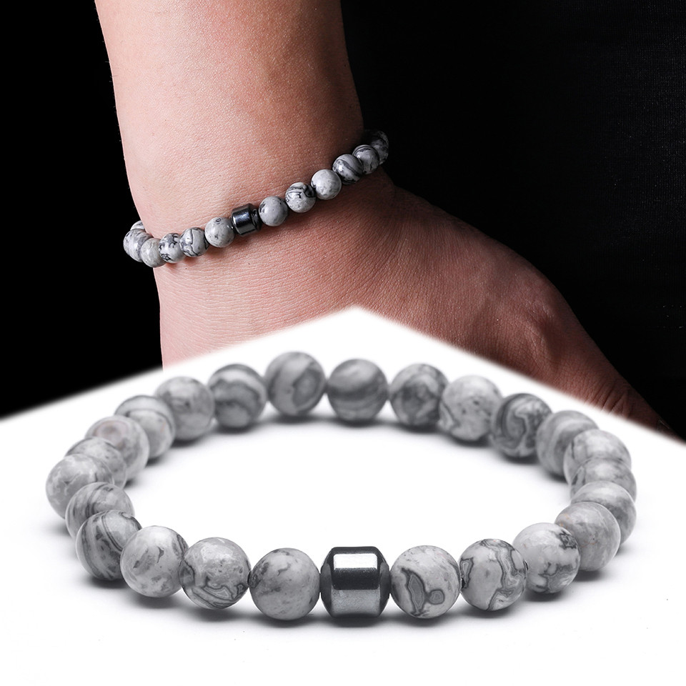 2019 Cylinder Beaded Bracelet For Men Classic Nature Tiger Eyes Stone Beads Charm Bracelets Bangles Homme Male Yoga Jewelry Gift in Strand Bracelets from Jewelry Accessories