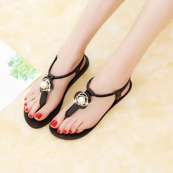 New genuine leather sandals women shoes fashion flat sandals cow leather summer rhinestone ladies shoes