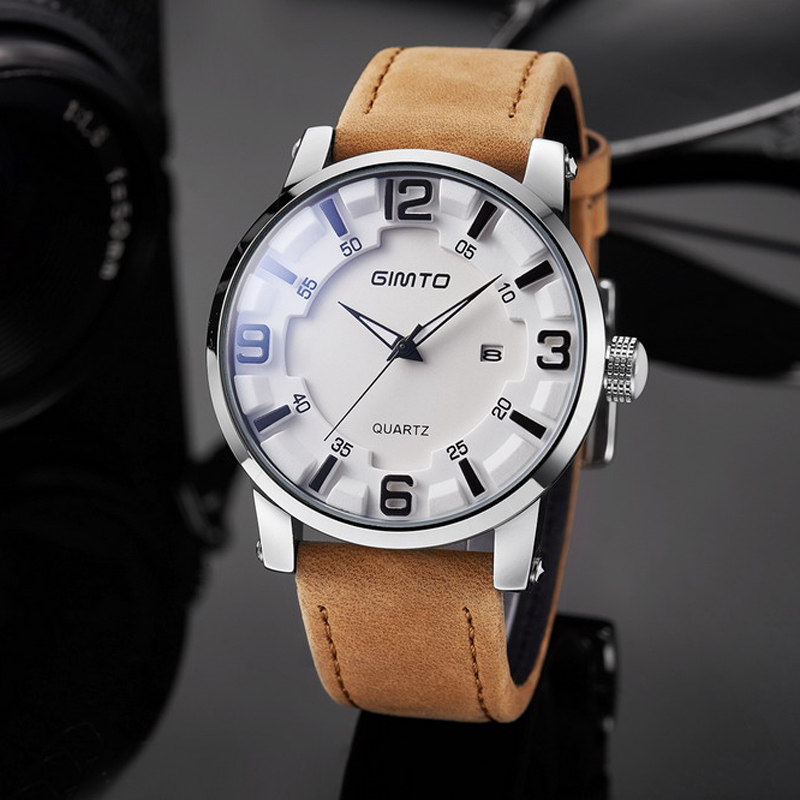 GIMTO Luxury Watch Men Waterproof Sport Mens Watches Leather Fashion Casual Quartz Wristwatch Men Clock New Calendar Hodinky Men gooseneck swivel spout kitchen sink faucet antique brass single hole deck mounted single handle vessel sink mixer taps wsf080