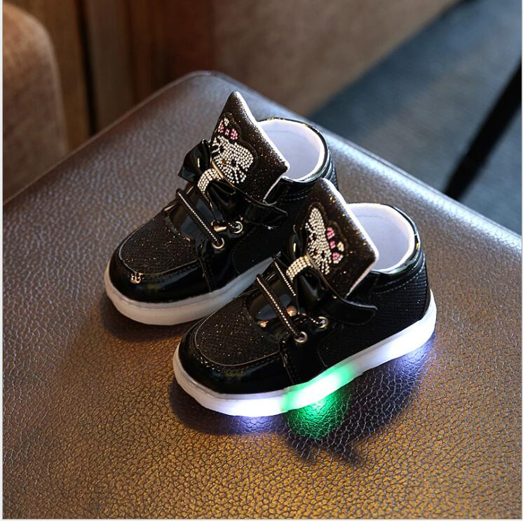 New-Cartoon-Cat-Diamond-Princess-Girls-Sports-Shoes-Autumn-Winter-Cartoon-LED-Sneakers-Korean-Children-High-Top-Boots-Kids-Shoes-1
