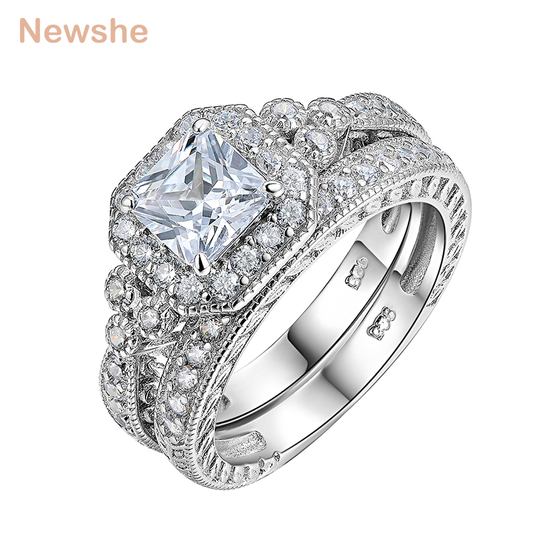 Newshe Genuine 925 Sterling Silver Halo Wedding Ring Set Engagement Band 1.2 Ct AAA Princess CZ Fashion Jewelry For Women JR4970 newshe 925 sterling silver rose gold color dangle drop earrings 6 ct red rhinestone heart shape aaa cz fashion jewelry for women
