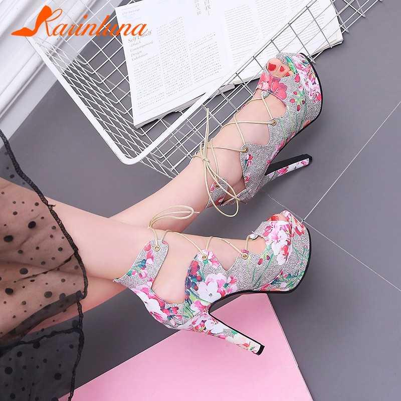 KARINLUNA ใหม่แฟชั่นขนาด 33-43 Lace Up พิมพ์ดอกไม้สุภาพสตรีรองเท้าส้นสูงแพลตฟอร์มรองเท้ารองเท้าผู้หญิงงานแต่งงานรองเท้าแตะฤดูร้อน