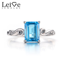 Leige Jewelry Real Swiss Blue Topaz Rings Promise Rings Emerald Cut Blue Gemstone 925 Sterling Silver