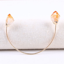 Natural Gem Stone Crystal Bangle Bracelets Amethysts Citrines Lucky Reiki Energy Elastic Bangles