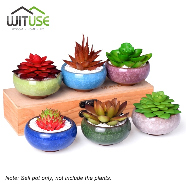 Wituse 6x Cute Ice Glazed Maceta Ceramica Small Flower Pot Succulent Plant Home Outdoor