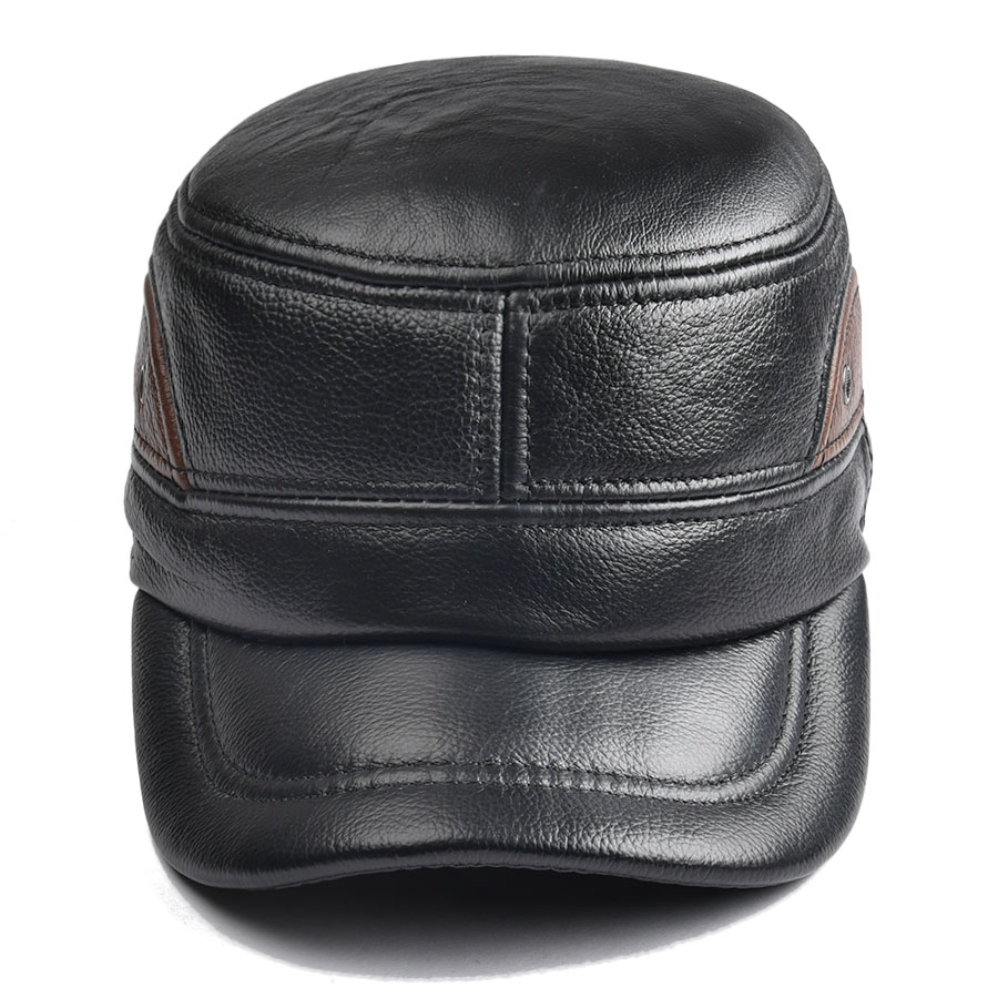 cd826f845f7 Men Sheepskin Hat Cadet Cap Hat For Men Daddy Genuine Leather Hat  Quinquagenarian Male Thermal Ear Protection 1601