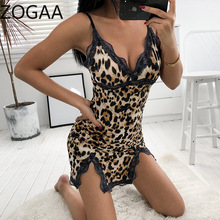 ZOGAA Women Sexy Summer Spaghetti Strap Sleepwear Leopard Print V Neck Lace Split Nightgowns Dress Bodycon Nighty Sleep Wear