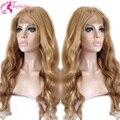 7A ondulado rubio cabello humano sin cola peluca llena del cordón peluca virginal brasileña del frente del cordón del pelo humano pelucas para mujeres blancas
