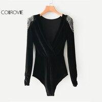 COLROVIE Black V Neck Beading Shoulder Sexy Velvet Bodysuit Women Long Sleeve Wrap Plain Rompers 2018