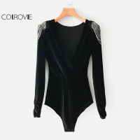 COLROVIE Black V Neck Beading Shoulder Sexy Velvet Bodysuit Women Long Sleeve Wrap Plain Rompers 2018