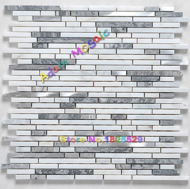 US $24 26  Natuursteen wandtegels witte badkamer muur deco grijs marmer  mozaïek tegel keuken backsplash tegels strip metro ontwerp in Natuursteen