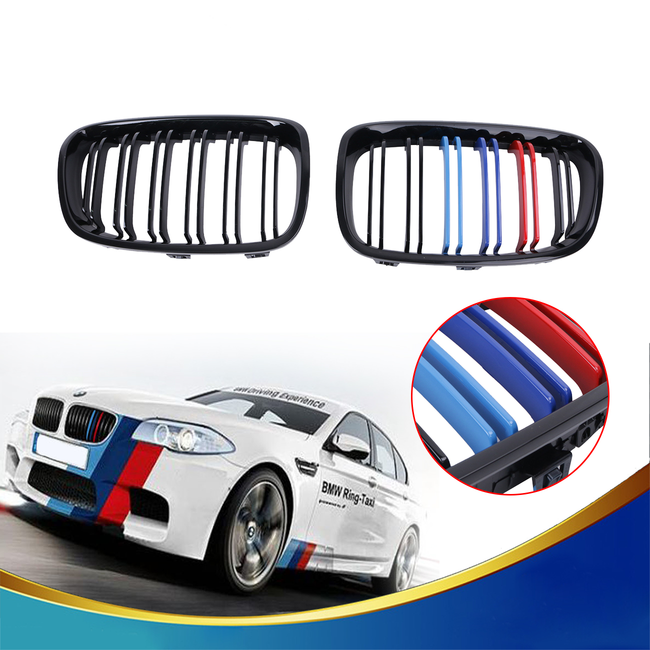 M-Color Double Line Front Grille Kidney Grills For BMW F20 F21 M Sport 118i 120i 125i 2010-2014 Glossy Black Car Styling #P457 2016 new a pair front grilles left and right double line grille gloss black front grills for bmw 3 series e46 2002 2004 4 door