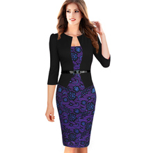 Womens Elegant Faux Twinset Belted font b Tartan b font Floral Lace Patchwork Wear to Work