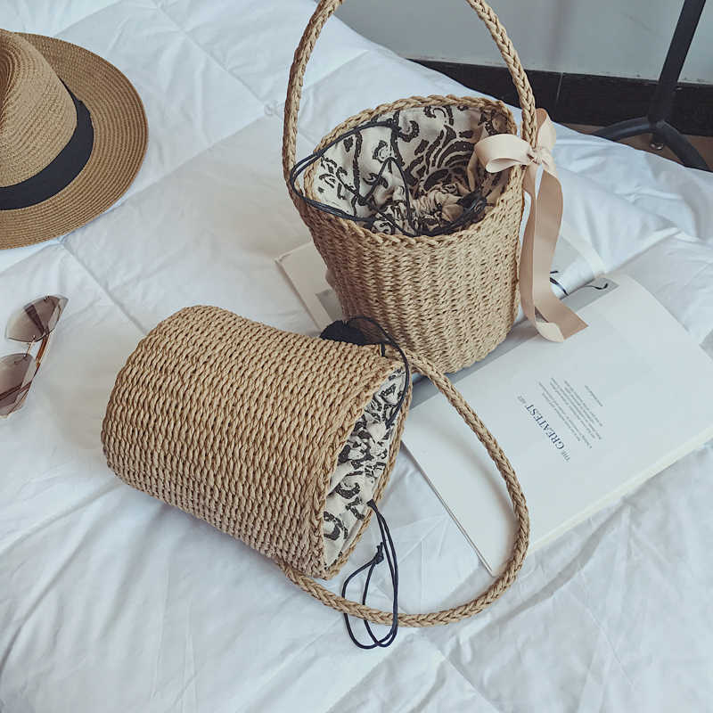 Bolso INS Kiple Mulheres Fashion Designer Lace Bolsas Sacolas Bolsa Saco de Compras bolsa de Ombro Bolsa de Palha De Vime do rattan