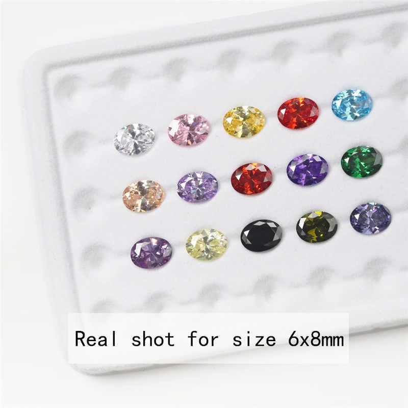 1 Uds. Por cada color Total 15 Uds. Tamaño 4x6mm ~ 10x12mm forma ovalada circonita cúbica suelta piedra CZ