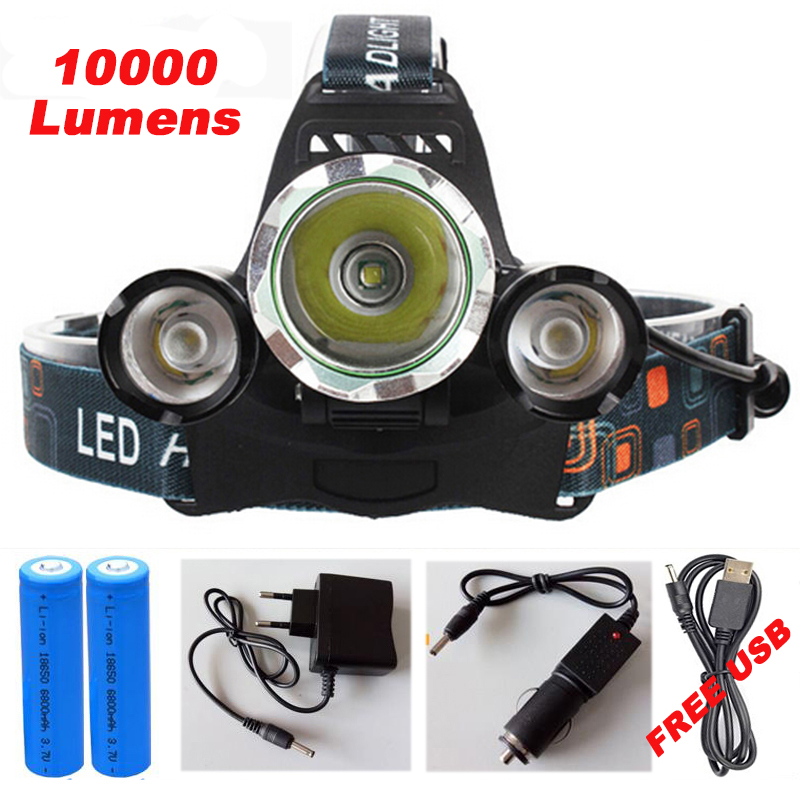 10000Lumens 3 <font><b>LED</b></font> CREE XML T6 Headlight Headlamp Head Lamp Light X900 Flashlight +2x18650 Battery+AC/Car/USB Charger For Fishing