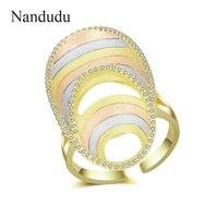 Nandudu New Fashion Oval Ring for Women Three Tones Gold High Level AAA CZ Open Cuff Wedding Rings Gift Elegant Jewelry R2053