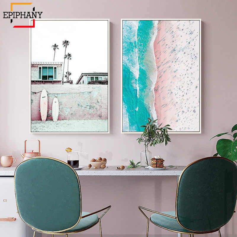 Surf Poster Beach Wall Art Canvas Painting Pink Surfboard Print California Modern Coastal Decor Wall Pictures for Living Room