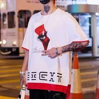 2019 Oversized Japan T Shirts Men Hip Hop T shirt Cotton Loose Tee Shirt Casual 2019 Korean Black White Tshirt Streetwear Male