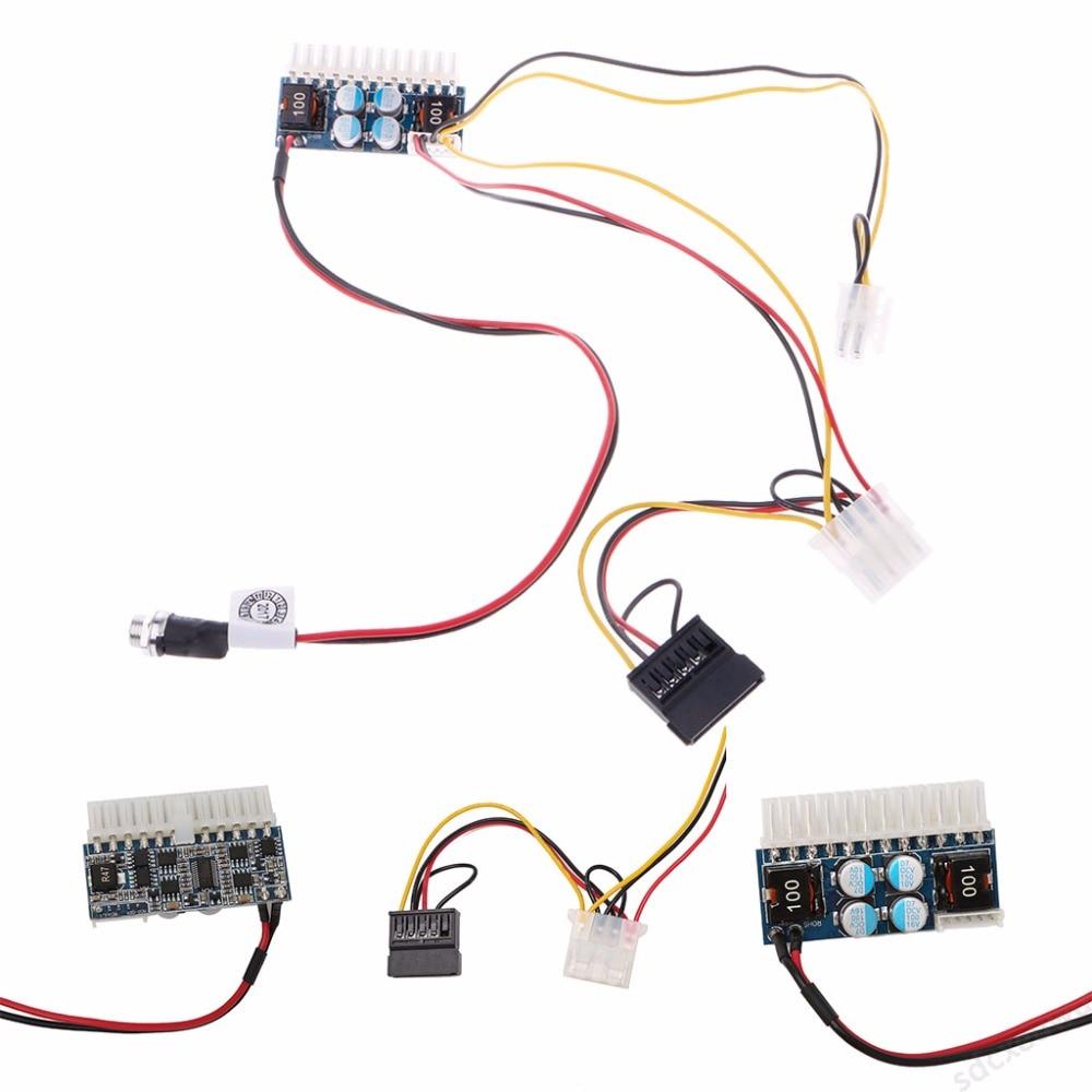 DC 12V 160W 24-Pin ATX Switch PSU Car Auto Mini ITX Power Supply Module Cable