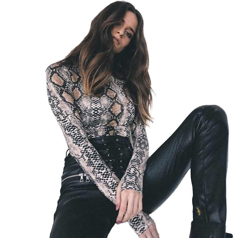 3100cd960ba Realpopu snake skin Turtleneck Long Sleeve Bodysuit Sexy Bodycon Fashion  Romper Womens Jumpsuit Overall Knitted Combinaison