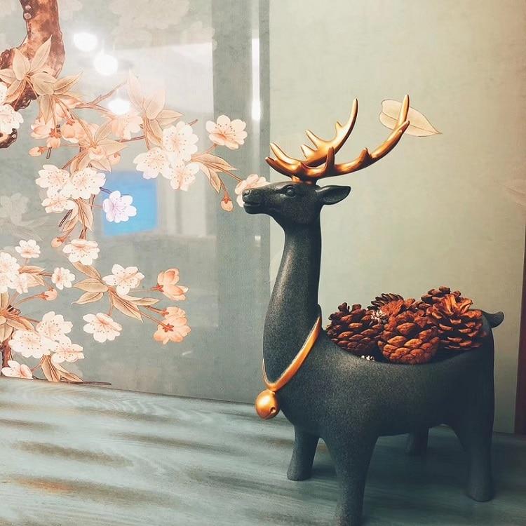 Nordic Cervos Estátua de Resina Chave Recipiente