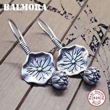 BALMORA Real 925 Sterling Silver Lotus Flower Drop Dangle Earrings for Women Mother Gift Vintage Elegant Fashion Jewelry