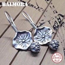 BALMORA gerçek 925 ayar gümüş Lotus çiçek bırak Dangle küpe kadınlar için anne hediye Vintage zarif moda takı