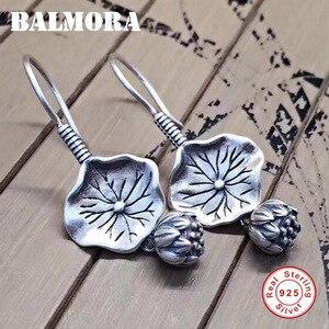 Image 1 - BALMORA gerçek 925 ayar gümüş Lotus çiçek bırak Dangle küpe kadınlar için anne hediye Vintage zarif moda takı