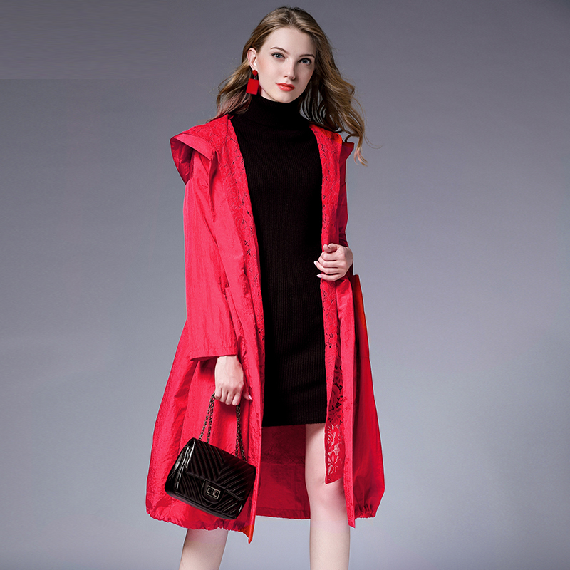 Spring Autumn New Big Size Long Sleeve Lace Hooded Trench Coat Large Size Ladies' Draw String Loose Lace Elegant Coat Red Black