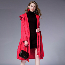 Spring Autumn new Big size long sleeve lace Hooded trench coat Large size ladies' draw string loose lace Elegant coat red black spring autumn new big size long sleeve lace hooded trench coat large size ladies draw string loose lace elegant coat red black