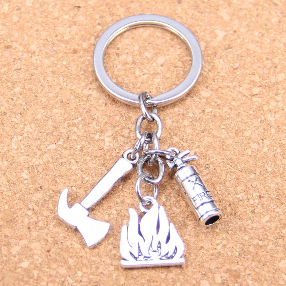20pcs New Fashion DIY Keychain flames fire extinguisher fireman axe Pendants Men Jewelry Car Key Chain Souvenir For Gift in Key Chains from Jewelry Accessories