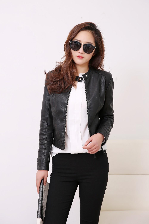 O Neck Collar Pu Leather Jacket New Fashion Motorcycle Clothing