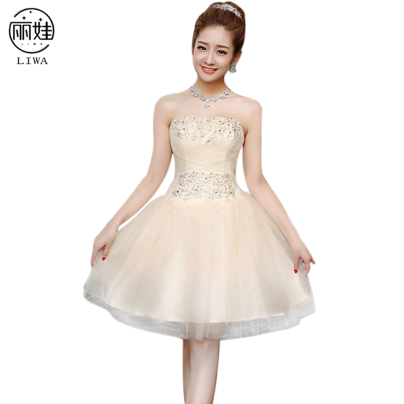 Lace-up   Bridesmaid   Party   Dresses   Short Style Chiffon Banquet   Dress   Vestido De Festa Wedding Pretty   Bridesmaid     Dresses   LF09
