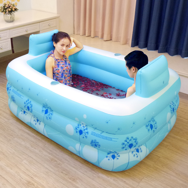 couple adult pvc portable folding inflatable bath tub with air pump for couple bathing in. Black Bedroom Furniture Sets. Home Design Ideas