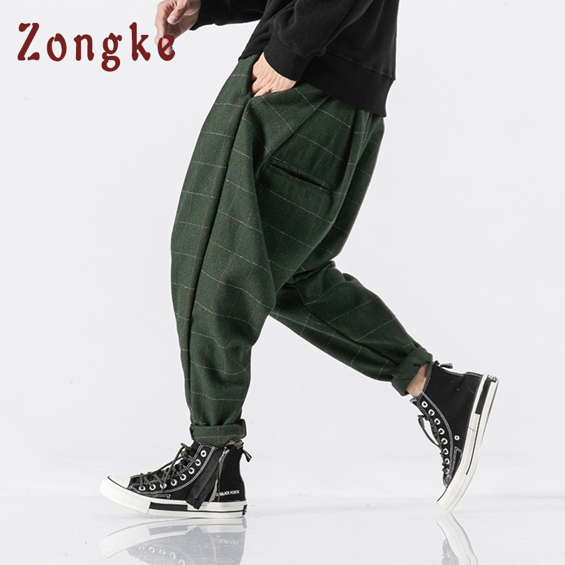 Zongke Chinese Style Thick Wool Pants Men Japanese Streetwear Plaid Harem Pants Men Trousers Hip Hop Joggers Men Pants 2019 New(China)