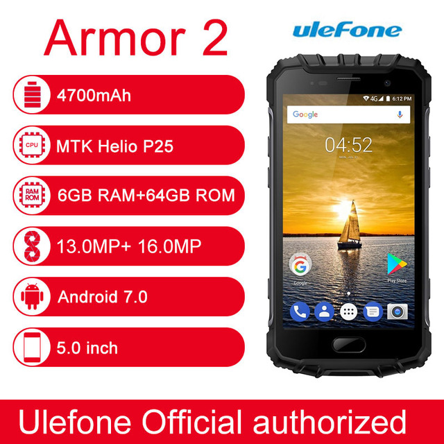 "Ulefone Armor 2 Triple Proofing 6GB/64GB IP68 Waterproof Fingerprint Identification 5.0"" Android 7.0 MTK Helio P25 Octa Core"