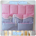 Promotion! Kitty Mickey 62*52cm 100% Cotton crib organizer Baby bed hanging storage bag diaper bag