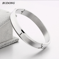 BUDONG Brand 2017 Vintage Stainless Steel Wristband Hand Cuff For Men High Quality Bangle Bracelet Indian