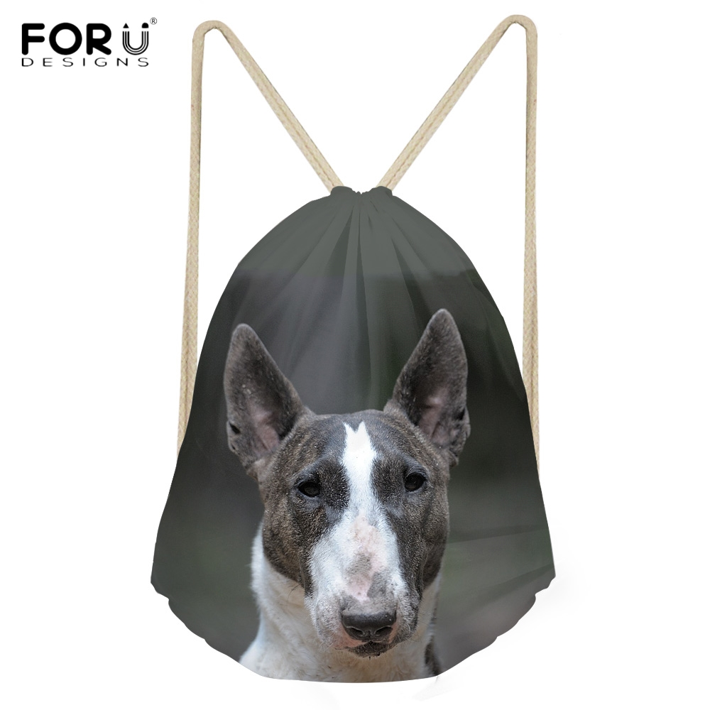 FORUDESIGNS Funny 3D Dog Bull Terrier Printing Woman Man Backpacks Casual Travel Beach Storage Sacks Softback Drawstrings Bags