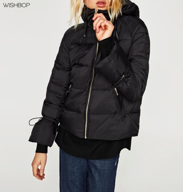 WISHBOP NEW 2017 Autumn Fashion Black Quilted Jacket Parka hood long sleeves with adjustable drawstring cuffs side zip pockets цена