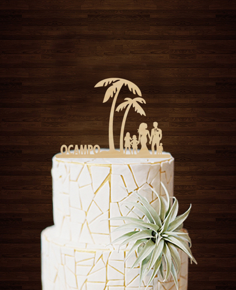 personalised wedding cake toppers cheap palm tree famely members cake toppers unique wedding 18249