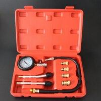 Hot!9pcs Petrol Gas Engine Cylinder Compressor Gauge Meter Test Pressure Compression Tester Leakage Diagnostic Tool