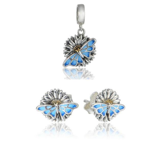 NOVOS Conjuntos de Jóias Borboleta Brincos Do Parafuso Prisioneiro & Beads para Fazer Jóias DIY Fit Encantos Pulseira Mulheres 925-Silver-Jewelry