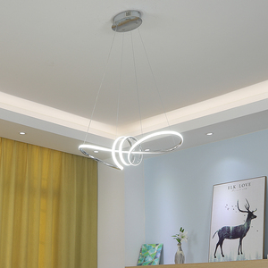 Image 3 - Gold Chrome Plated Modern Led Chandelier Hanging For Dining Room Kitchen Room Living Room Home Deco Chandelier Fixture