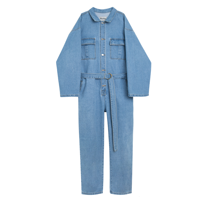Men's Clothing Sokotoo Mens Short Sleeves Letters Embroidery Loose Thin Denim Jumpsuits Casual Light Blue Overalls Crop Jeans
