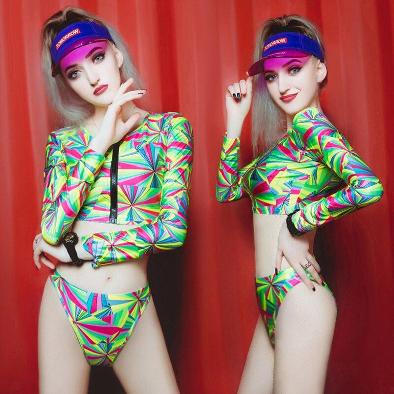 New Sexy Gogo Nightclub Costumes Lead Dancers Ds Bar Costume Bikini Set For Woman Freeshipping