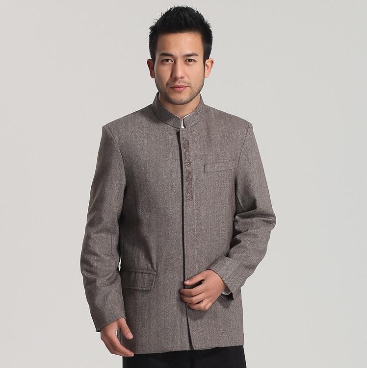 2017 Hot Sale Solid Grey Brown Men S Chinese Tunic Suit Tops Wool Mandarin Collar Single
