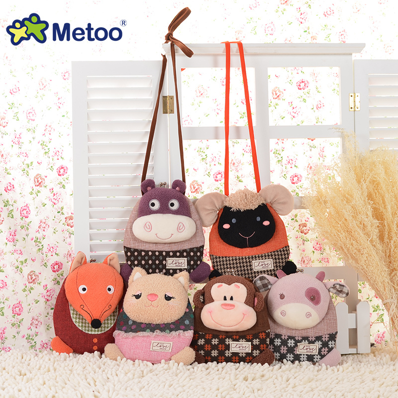 candice guo! Metoo cute plush toy cartoon animal monkey sheep fox small crossbody bag coin purse money clip birthday gift 1pc