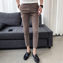 Summer new slim tapered gentleman nine points business casual pants personality fashion classic trend urban trousers youth